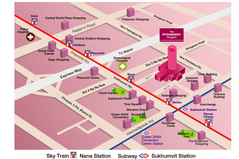 نقشه هتل آمباسادور بانکوک